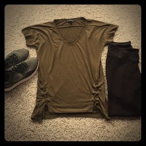 Tops - Lace up army green tee